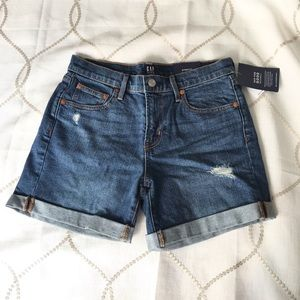 Gap Mid Rise Distressed Denim Shorts
